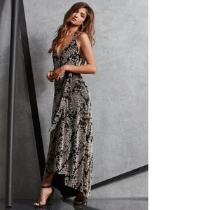 Dress The Population Erica Floral Velvet Wrap Gown